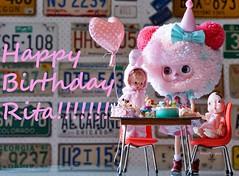 HAPPY BIRTHDAY RAINING RITA!!! (Kewty-pie) Tags: birthday cakes vintage table miniatures doll dress chairs furniture balloon blythe custom rement photograpy knickerbocker cakepop drblythenstein yarnhead neferkane sweetpetiteshoppe babyhumpty