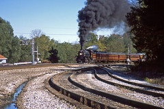 Runby at Miller Station: 2 (craigsanders429) Tags: steamtrain railroadtracks steamtrains passengertrains steamlocomotives passengercars excursiontrain ohiocentralrailroad excursiontrains ohiocentral1293 ohiocentralsystem steamexcursions canadianpacific1293