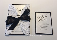 Wedding invitation card made of white doily, black glitter and black ribbon. This is perfect for your black tie wedding or event. The details and the small finishes are beautiful.   See more at  www.boxedweddinginvitations.com   #invitationcard #blacktie (boxedweddinginvitations) Tags: blacktie invitationcard