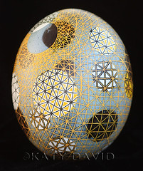 Perpetual Yellow Orbit (Katy David Art) Tags: sculpture white black art lines yellow 3d map folk space egg fine gray ostrich wax orbit resist linear eggshell batik perpetual beeswax pysanka pysanky