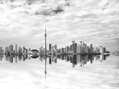 Beautiful Toronto Cityscape with Water Reflection (Patrick Bombaert) Tags: city travel summer sky lake toronto canada tower tourism water horizontal architecture skyscraper outdoors harbor day sailing cntower waterfront yacht officebuilding nopeople business skydome harbourfront watersedge vacations frontview yachting workplaces harborfront urbanskyline tranquilscene ontariocanada urbanscene cloudsky traveldestinations famousplace buildingexterior downtowndistrict builtstructure canadianculture nauticalvessel recreationalboat