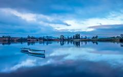 Saltire (rgcxyz35) Tags: blue scotland trossachs water reflections lochrusky boats lochs clouds