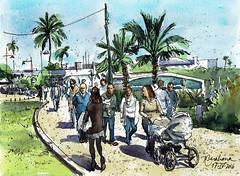 Calle con gente (P.Barahona) Tags: calle gente palmeras urbano pluma acuarela pbarahona