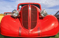 #LGRW! (~ Liberty Images) Tags: red lines car nose classiccar vintagecar automobile plymouth pumpkinrun headlights grille deco libertyimages