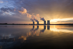 Atomic sky (Fabien Husslein) Tags: sunset sky lake plant france reflection water clouds landscape soleil energy eau factory power energie coucher lac nuclear reflet ciel rays nuages paysage atomic lorraine industrie rayons centrale moselle nucleaire cattenom mirgenbach indurty daarklands
