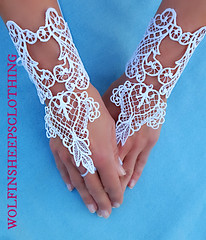 Embroidered Lace Gothic Wedding Gauntlet Gloves (margaretdaniero) Tags: wedding white costume hands hand cosplay lace gothic goth victorian formal prom gloves accessories satin renaissance embroidered accessory embroider