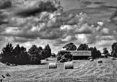 James Heifner - Hay Time (Missouri Agriculture) Tags: field clouds barn farm hay bales