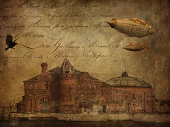 Come Take a Trip in My Airship (jimlaskowicz) Tags: castle art texture vintage artistic grunge mysterious airship raven steampunk