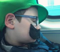 (Ryan Dickey) Tags: sleeping green hat train nap luke nintendo moustache snooze commuter commuting asleep metra naptime luigi headinghome tuckeredout tiredout leokidsday metraride