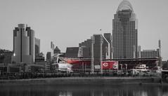 Cincinnati Reds (GRPhotog) Tags: ohio red white black color canon cincinnati removal reds ohioriver selectivecolor cincinnatireds gabp greatamericanballpark 70d 18135mm