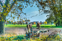 Ausgemustert (Karl Lenard) Tags: autumn fall landscape countryside geese scenery herbst scene farewell plow landschaft plough abschied parting gnse pflug