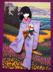 ATC1310 - Geisha in a colorful field (tengds) Tags: pink flowers trees red plants white green leaves yellow atc artisttradingcard asian japanese purple geisha kimono obi papercraft japanesepaper washi ningyo artistcard handmadecard chiyogami asiandoll yuzenwashi japanesepaperdoll colorfulfield nailsticker origamidoll kimonodoll nailartsticker tengds linenlikepaper