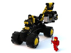 Blacktron Bridge Buggy Bully (David Roberts 01341) Tags: lego 4x4 crane rover scifi minifig grab buggy ldd 886 blacktron classicspace minfigure bluerender