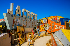 neon sign graveyard (Sam Scholes) Tags: old trip las vegas vacation black color graveyard sign museum jack us colorful neon unitedstates lasvegas anniversary nevada motel neonsign oldsign jackpot jackpotmotel signgraveyard blackjackmotel neonsignmuseum theneonmuseum
