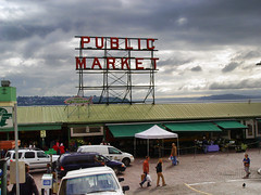 Pike Place Market, Seattle (dckellyphoto) Tags: seattle sign clouds vintage washington downtown pikeplace elliottbay washingtonstate