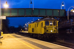 Network Rail Class 73 no 73138 makes a rare appearance at Mansfield Woodhouse Station on 05-02-2015 with a working from Derby RTC to Derby RTC Via the High Marnham Test Track (kevaruka) Tags: uk greatbritain winter england color colour colors yellow composition train canon outdoors evening flickr colours unitedkingdom dusk transport rail railway trains trainstation 5d locomotive february frontpage britishrail nottinghamshire mansfield midlands eastmidlands 2016 networkrail class73 73138 robinhoodline railnetwork canon5dmk3 5dmk3 5d3 kevinfrost 5diii canon70200f28ismk2 canoneos5dmk3 mansfieldwoodhousestation