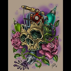 Trying something different on the wacom cintiq, this is up for grabs, if you want it tattooed please contact me at the shop @wacomtattooteam @wacom #skull #sidecranker #roses #pooch #alteredstatetattoo