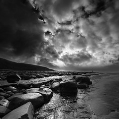 ogmore_14 (philfitzsimmons.co.uk) Tags: sea blackandwhite clouds coast ogmore bridgend
