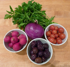 Vegetables x 5 (Monceau) Tags: red vegetables tomato cherry olives onion parsley radish kalamata 116picturesin2016 80fiveaday