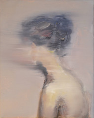 Pauline Zenk — Blow My Mind, 2015. Painting: Oil on canvas, 11.8 x 9.4 in.  A woman turning around in a flow of color. FigurativeBlurPortraits from the back (ArtAppreciated) Tags: from blur art female portraits painting neck long head contemporary fineart blow blogs portraiture mind behind graceful bun pauline turning figurative 2015 artblogs zenk tumblr 2010s artoftheday artofdarkness date2015 artappreciated artofdarknessco artofdarknessblog