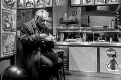 A few sandwiches for a picnic (Sbastien Gross) Tags: street blackandwhite man paris night 35mm restaurant fuji candid fastfood streetphotography 100v10f saintmichel quartierlatin 2016 x100 project365