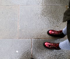 Tap Your Boots 3 Times... (rreyn92) Tags: shadow red film make rain walking manchester dorothy outside outdoors see shine rainyday boots quote oz wizard pavement explore thinking dreams around wish reboot reference wishful makeawish mancunian