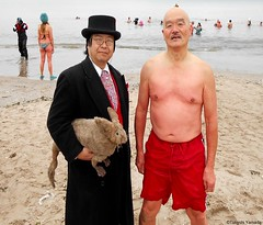 Dr. Takeshi Yamada and Seara (Coney Island Sea Rabbit) at the winter swimming event by the Coney Island Polar Bear Club at the Coney Island Beach in Brooklyn, New York on January 17 (Sun), 2015.  merman.  20160117Sun DSCN3452=-1015pC1. katsumi Iwasaki (searabbits23) Tags: winter ny newyork sexy celebrity art beach fashion animal brooklyn asian coneyisland japanese star yahoo costume tv google king artist dragon god cosplay manhattan wildlife famous gothic goth performance pop taxidermy cnn tuxedo bikini tophat unitednations playboy entertainer samurai genius donaldtrump mermaid amc mardigras salvadordali billclinton hillaryclinton billgates aol vangogh curiosities bing sideshow jeffkoons globalwarming takashimurakami pablopicasso steampunk damienhirst cryptozoology freakshow barackobama polarbearclub seara immortalized takeshiyamada museumofworldwonders roguetaxidermy searabbit ladygaga climategate