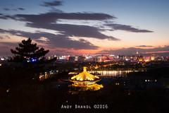 Post Sunset Pagoda Scenery (Andy Brandl (PhotonMix.com)) Tags: china trees sky modern lights nikon scenery cityscape led citylights tranquil movingclouds beiing photonmix jingshanpeak