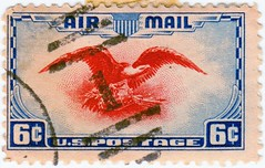 6¢ Red Eagle Air Mail, variant (sjrankin) Tags: illustration eagle edited historic stamp usps postage postagestamp airmail cancellation canceled redeagle 6¢ 28february2016