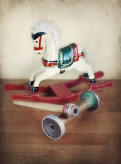 Rocking Horse and Bobbins (vesna1962) Tags: stilllife vintage toy wooden rockinghorse textured bobbins redandgreen