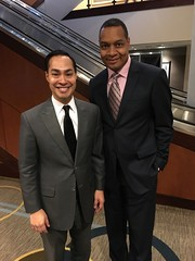 Former Kansas City Missouri city councilman Dr. Troy Nash and the United States Secretary of HUD, Julian Castro meeting in Washington DC at the National Council of State Housing Finance Agencies conference.