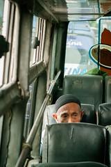 Indonesian bus | Java| Indonesia | 2016 (Matteo Bontempi) Tags: portrait men hat indonesia looking seats what indonesian oldmen publicbus