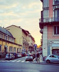 Milano (kathibro92) Tags: auto morning italien italy sun car hostel colorful milano colores coche bici fahrrad bunt streer mailand gegend