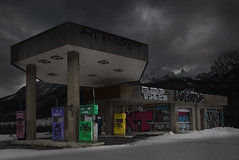 Post-petroleum era is coming (Michel Couprie) Tags: snow france clouds montagne alpes canon eos cloudy tags gasstation urbanart michel montain abandonned urbex stationservice hautesalpes couprie tse24mmf35l