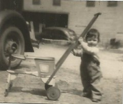 blurred babe (912greens) Tags: cars boys kids buildings children 1930s overalls cropped carts strollers pushcarts folksidontknow
