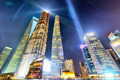 Energized (Andy Brandl (PhotonMix.com)) Tags: china urban design nikon energy cityscape skyscrapers shanghai illuminated led future pudong modernarchitecture beams jinmaotower cityscene lujiazui swfc shanghaitower photonmix