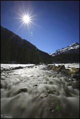 Sunny valley (FloArmengaud) Tags: longexposure blue winter sky sun snow nature water river landscape pont espagne pyrnes cauterets nd400