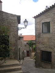 a street lamp (VERUSHKA4) Tags: street door roof summer mountain plant detail green portugal window lamp wall stairs canon grey iron europe day village album perspective july line portuguese verdure monsanto farole