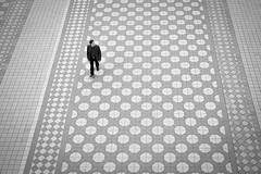 Walking in the geometry (fernando_gm) Tags: street people blackandwhite bw españa man monochrome 35mm monocromo sevilla spain alone fuji gente geometry seville human simplicity fujifilm simple humano minimalist hombre plazadeespaña minimalista geometría monocromatico apsc xt1