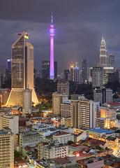 Peaks of Kuala Lumpur (vedd) Tags: longexposure architecture cityscape canonef50mmf18 malaysia kualalumpur hdr klcc petronastwintowers menarakl menarakualalumpur menaramaybank vertorama vedd canoneos60d photomatix5 promotecontroller
