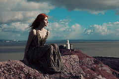 (GARETHRHYS.COM) Tags: ocean blue light sea portrait sky sunlight lighthouse girl beautiful beauty fashion wales female clouds canon landscape ginger florence movement model shadows dress natural dream location queen redhead fairy fantasy ethereal dreamy mumbles welch faerie whimsical queenofpeace