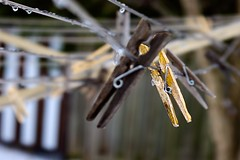 Pinning our hopes on spring (Jamie McCaffrey) Tags: outside spring backyard frost fuji dof bokeh ottawa clothesline clothespins x100s