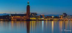 Stockholm City Hall at Night (stevebfotos) Tags: longexposure night river stockholm gamlastan bluehour hdr riddarfjrden stockholmcityhall