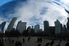 Skyline in Bean 2 (Emily K P) Tags: city chicago reflection skyline warp bean millenniumpark cloudgate