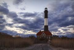 The Keeper's Path [Explore] (NYRBlue94) Tags: ocean blue sunset sea sky lighthouse beach clouds island fire evening dusk