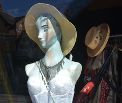 mannequin with 2 hats (mcfcrandall) Tags: white toronto mannequin female necklace hats lingerie parkdale topw torontophotowalks topwpark