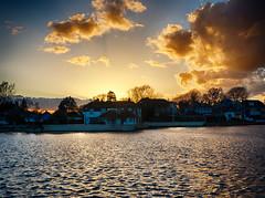 Emsworth sunset (Spinnakertog) Tags: houses sunset water clouds landscape evening coast dusk calm hdr sunray emsworth