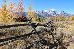 Fence Around Church Of The Transfiguration (Robert F. Carter Travels) Tags: autumn mountains fall church fence nationalpark shadows churches fences grandtetons nationalparks grandtetonnationalpark churchofthetransfiguration