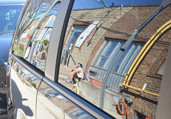 reflecting on a sunny afternoon (mcfcrandall) Tags: city people urban men brick window car outdoors spring sunny bluesky relfections topw torontophotowalks topwwalk
