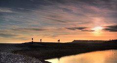 Silhouettes at sunset - Budleigh Salterton, Devon (suerowlands2013) Tags: sunset beach clouds silhouettes pebbles devon walkers coastalpath riverotter budleighsalterton seasidetown jurrasiccoast